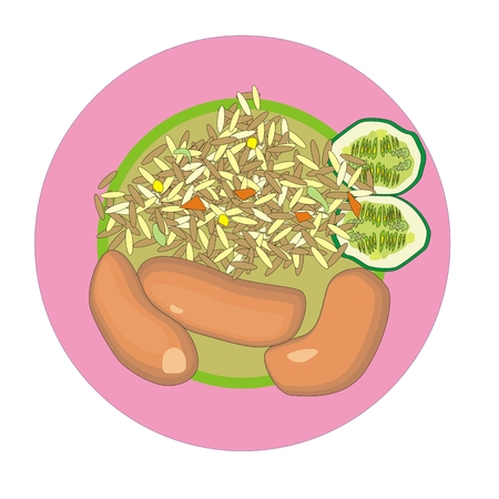 rice plate: smoked sausage with fried rice and vegetables on a round plate