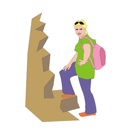 traveler: girl traveler with a pink backpack climbing on rock Stock Photo