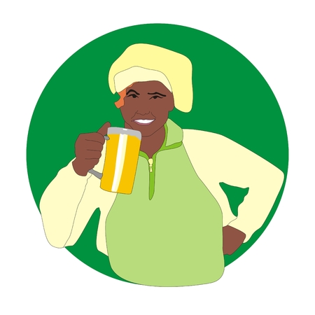 beer stein: fun brewer with a mug of beer in his hand Stock Photo