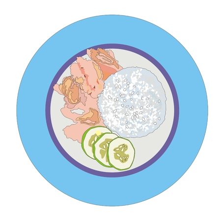 fillet: chicken fillet and steamed rice with cucumber slices