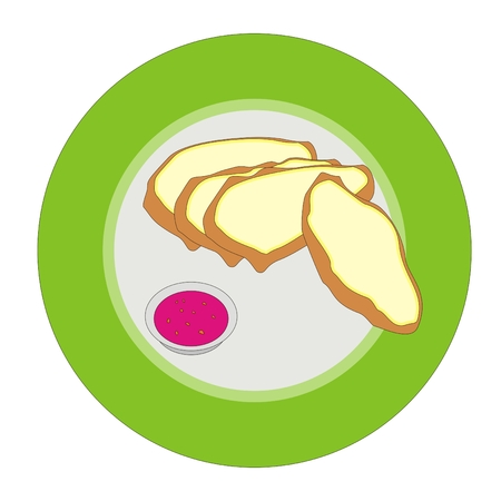 white bread: white bread and raspberry jam in a circular plate