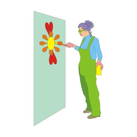 overol: Creativas del pintor con el mono que pintan en la pared