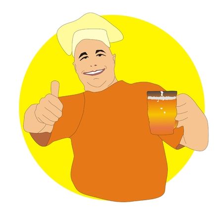 brewer: cheerful brewer holding a beer mug and thumb