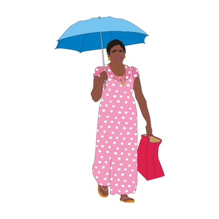 asian adult: Indian woman walking for shopping with an umbrella from the sun Stock Photo