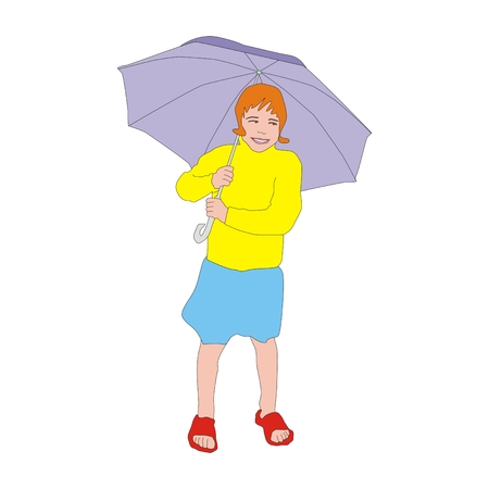 redhead girl: Happy little redhead girl walking with big umbrella on a rainy day Stock Photo