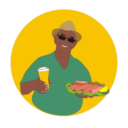 appetizer: Cheerful man wearing a hat with glass of beer and plate of seafood appetizer