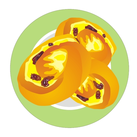 raisin: Three sweet buns with raisins on a round plate