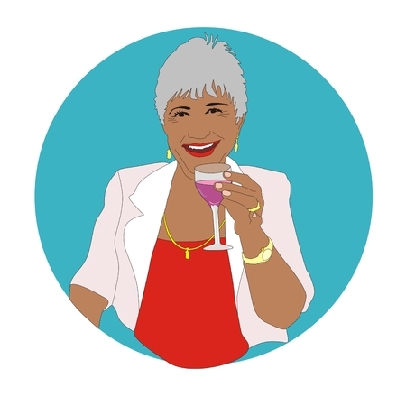 retiree: Happy retired lady with a glass of wine