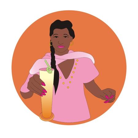 yoghurt: Indian girl with traditional lassi drinks based on yoghurt Stock Photo