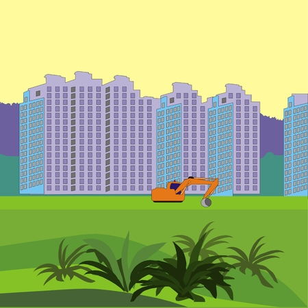 residential neighborhood: illustration about construction of a new neighborhood of territory