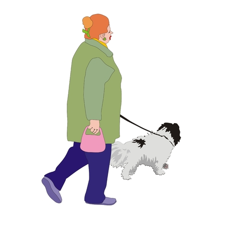 leash: active pensioner woman walking her dog on a leash