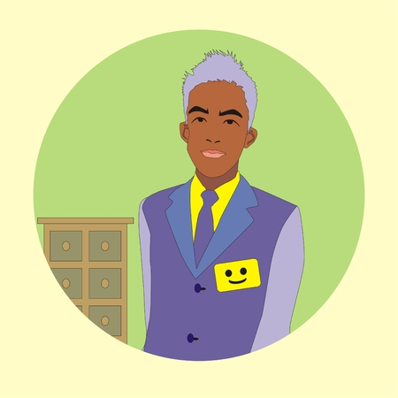 hotel manager: Illustration friendly hotel manager welcomes guests at the reception