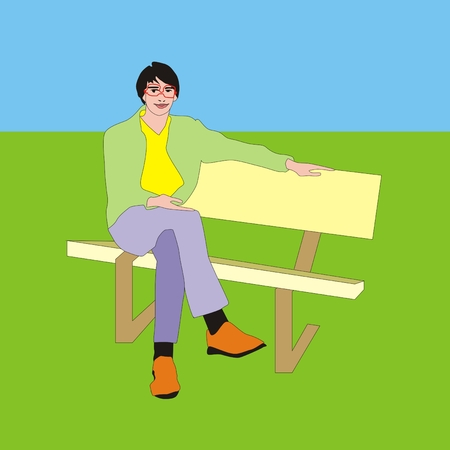 trainee: Illustration of trendy young teacher trainee sitting on the bench outdoor
