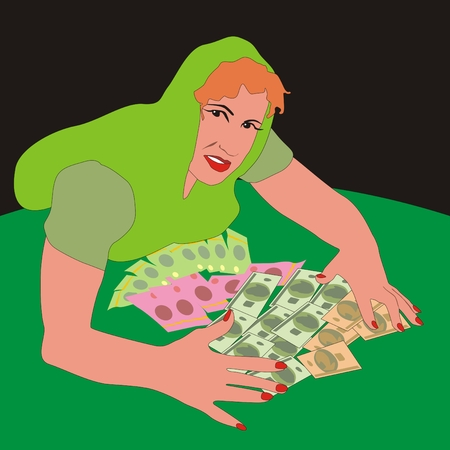 winnings: Illustration of happy girl rakes in a lot of paper money of various currencies on the table winnings Stock Photo
