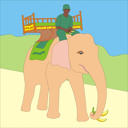 pink elephant: Illustration of a cute pink elephant holding a banana in his trunk makes riding tourists