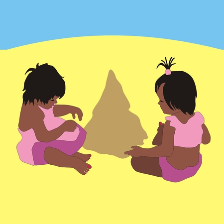 little girl beach: Illustration little girl twins playing in the sand beach