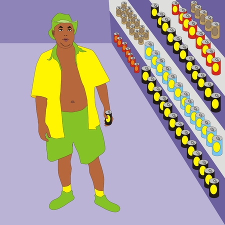 choosing: Illustration men shopping in a beer shop holiday man choosing beer cans
