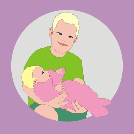big brother: Illustration big brother help his mother holding newborn sister in his arms