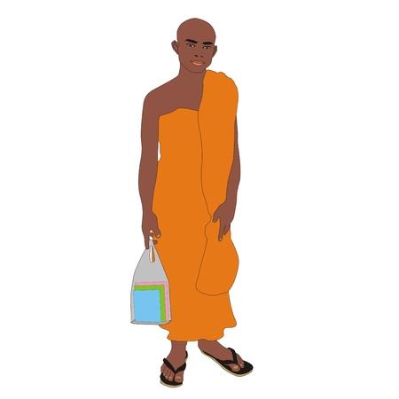 Robe: Illustration Buddhist monk student wearing an orange robe in Thailand isolated on white background