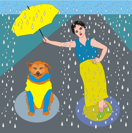 wet girl: Illustration good girl wet in the rain holding an umbrella over her dog, the dog is not in a hurry, dog was satisfied