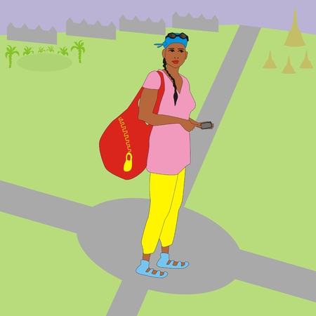 crossroads: Illustration of a modern tourist girl with a bag and a navigator standing at a crossroads, and she thinking which way to go Stock Photo