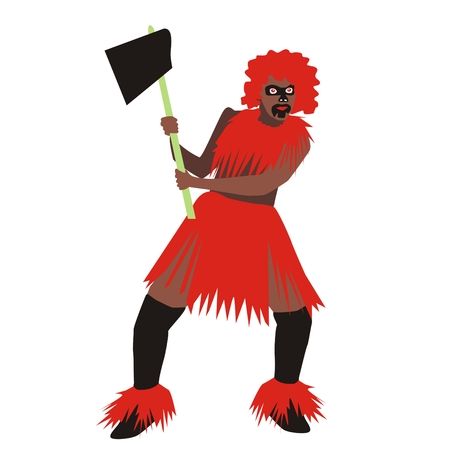 tribe: Illustration of a man from the tribe wearing red clothes holding a battle ax