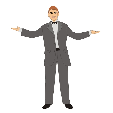 outstretched: Illustration of a successful man is wearing gray suit with arms outstretched