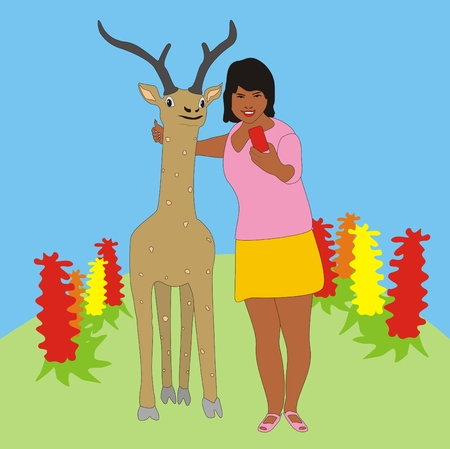 flower bed: Illustration of a young girl doing selfie with a deer in the park on a background of a flower bed Stock Photo