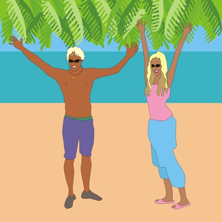 student travel: Illustration of a happy girl with the young man raised their arms are at the beach on a sunny day Stock Photo