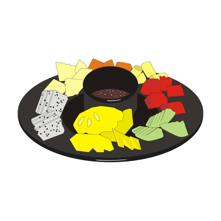 Illustration of a chocolate fondue with hot chocolate and slices of various fresh fruits