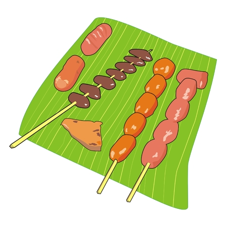banana leaf: Vector set a banana leaf kebabs, of pork, beef, chicken livers and sausages