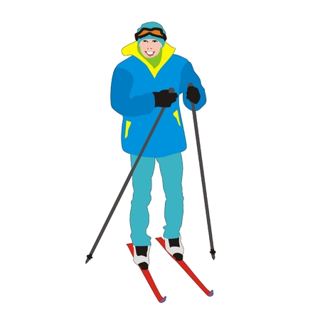 amateur: Vector skier amateur young student isolated on white background Vectores