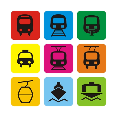ferry: Vector set icons: bus, train, taxi, monorail, tram, trolley, cable car, ferry, port Illustration