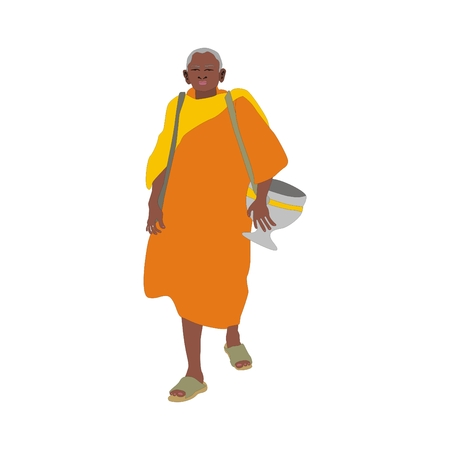 alms: Illustration elderly Thai monk wearing a robe and almsbowl going on almsround isolated on white background