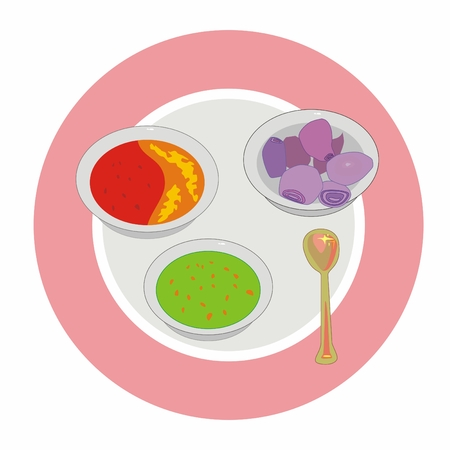 Illustration indian spices on a round plate: green chilli paste, red chilli with honey and red onion Stock Photo