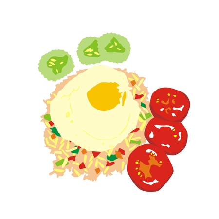 Illustration Burma breakfast fried rice with fried egg and vegetables isolated on white background