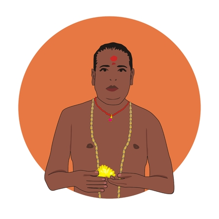 sadhu: Illustration of a Hindu monk with a rosary and a yellow flower in his hand preparing for a religious ceremony