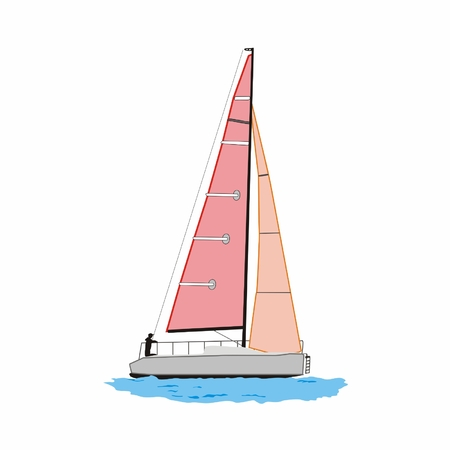 sailing yacht: Vector sailing yacht with pink sails isolated on white background Illustration