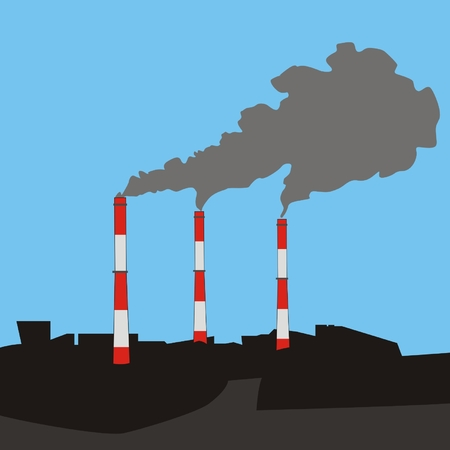 flue: Vector illustration urban landscape with three flue gas stacks air pollution at sky background