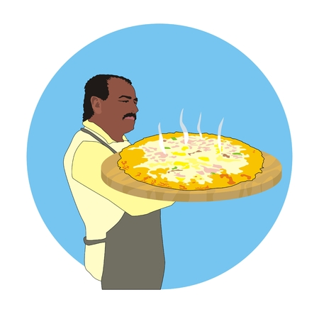 italian chef: Illustration Italian chef holding a fresh hot large pizzaIllustration Italian chef holding a fresh hot large pizza