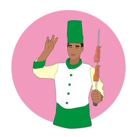 skewer: Illustration Asian barbecue chef holding in his hand a skewer with a delicious meat