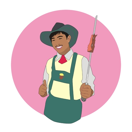 Illustration Asian barbecue cowboy holding in his hand a skewer with a delicious meat and showing thumb Stock Photo
