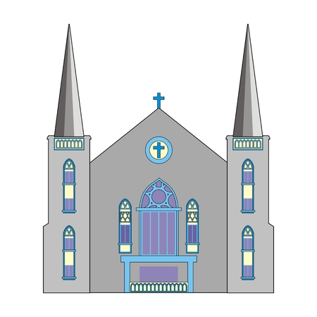 baptist: Illustration Baptist Church with a blue cross and two towers isolated on white background