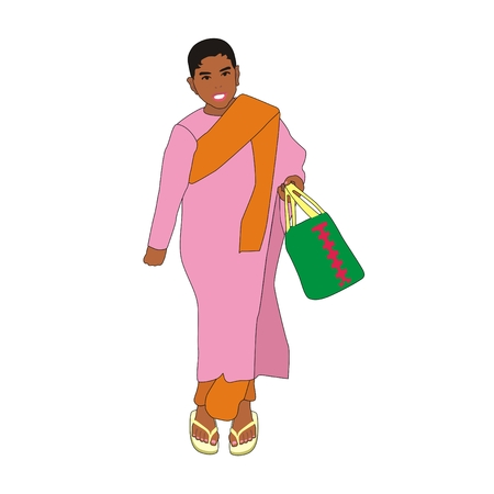 asian children: Illustration myanmar girl monk wearing a pink robe with a green basket in her hand walking  to the market isolation on a white background
