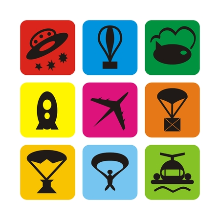 Illustration set of icons of air transport for passengers, air transport, mail and entertainment Stock Photo