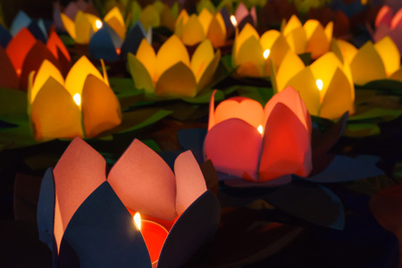 lotus lantern: Many light lotus lanterns Stock Photo