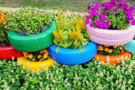 色とりどりの花やタイヤ ポット 写真素材