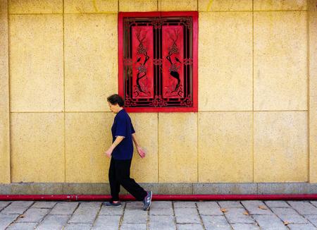 vietnamese ethnicity: Walking old woman