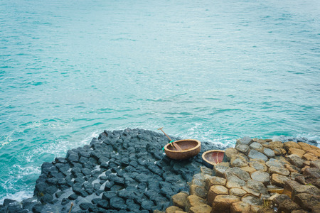giants: Giants causeway and coracles Stock Photo