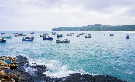 causeway: GanhDaDia giants causeway and ships Stock Photo